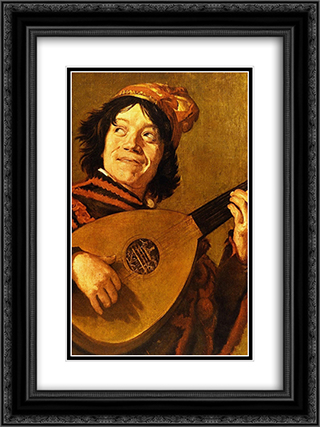 The Jester 18x24 Black or Gold Ornate Framed and Double Matted Art Print by Judith Leyster