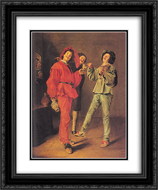 Three Boys Merry-making 20x24 Black or Gold Ornate Framed and Double Matted Art Print by Judith Leyster