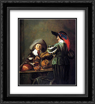Two musicians 20x22 Black or Gold Ornate Framed and Double Matted Art Print by Judith Leyster