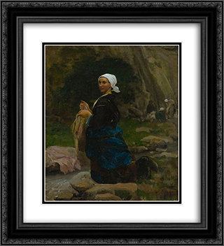 A Breton Laundress 20x22 Black or Gold Ornate Framed and Double Matted Art Print by Jules Breton
