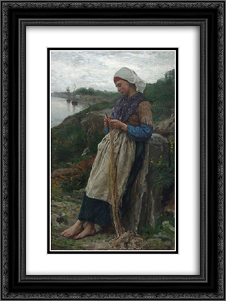A Fisherman's Daughter 18x24 Black or Gold Ornate Framed and Double Matted Art Print by Jules Breton