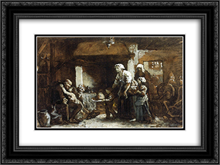 A Party for Grandfather (sketch) 24x18 Black or Gold Ornate Framed and Double Matted Art Print by Jules Breton