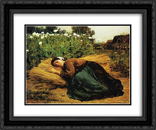 A Rest in the Fields 24x20 Black or Gold Ornate Framed and Double Matted Art Print by Jules Breton