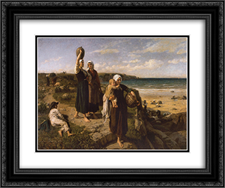 A Spring by the Sea 24x20 Black or Gold Ornate Framed and Double Matted Art Print by Jules Breton