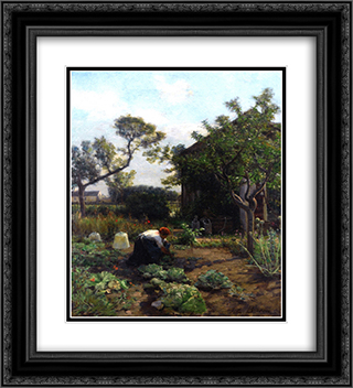 A Young Woman in the Artist's Garden, Courrieres 20x22 Black or Gold Ornate Framed and Double Matted Art Print by Jules Breton