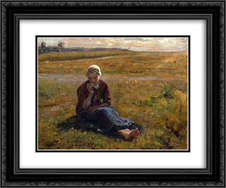 Afternoon Repast 24x20 Black or Gold Ornate Framed and Double Matted Art Print by Jules Breton