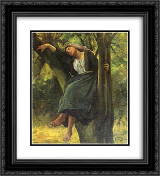 Asleep In The Woods 20x22 Black or Gold Ornate Framed and Double Matted Art Print by Jules Breton