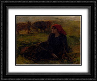 Bergere Dans Un Pre 24x20 Black or Gold Ornate Framed and Double Matted Art Print by Jules Breton