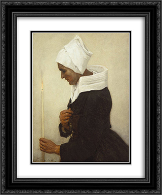 Breton Peasant Woman Holding a Taper 20x24 Black or Gold Ornate Framed and Double Matted Art Print by Jules Breton