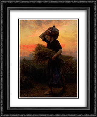 Dawn 20x24 Black or Gold Ornate Framed and Double Matted Art Print by Jules Breton