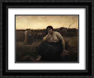 Evening 24x20 Black or Gold Ornate Framed and Double Matted Art Print by Jules Breton