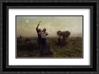 Evening Call 24x18 Black or Gold Ornate Framed and Double Matted Art Print by Jules Breton