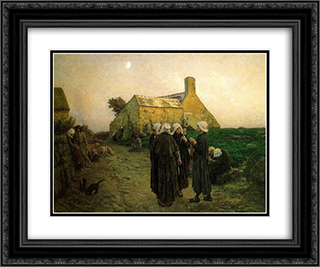 Evening in the Hamlet of Finistere 24x20 Black or Gold Ornate Framed and Double Matted Art Print by Jules Breton