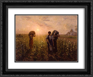 Fin du travail (also known as A travers champs) 24x20 Black or Gold Ornate Framed and Double Matted Art Print by Jules Breton