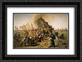 Fire in a Haystack 24x18 Black or Gold Ornate Framed and Double Matted Art Print by Jules Breton