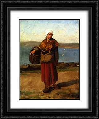 Fisherwoman, Douarnenez 20x24 Black or Gold Ornate Framed and Double Matted Art Print by Jules Breton