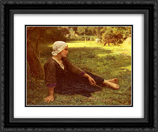 Girl Guarding the Cows 24x20 Black or Gold Ornate Framed and Double Matted Art Print by Jules Breton
