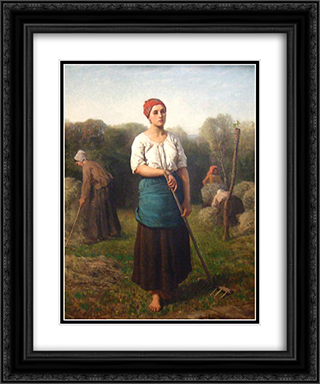 Girl with a Rake 20x24 Black or Gold Ornate Framed and Double Matted Art Print by Jules Breton