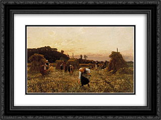 Gleaners at sunset 24x18 Black or Gold Ornate Framed and Double Matted Art Print by Jules Breton
