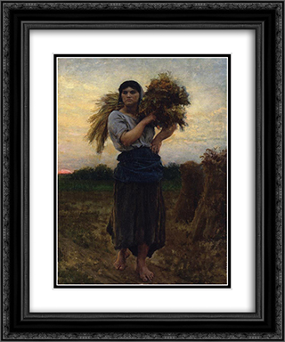 In the Fields, Evening 20x24 Black or Gold Ornate Framed and Double Matted Art Print by Jules Breton