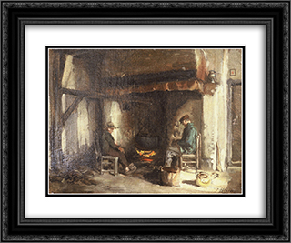 Interior in Kempen 24x20 Black or Gold Ornate Framed and Double Matted Art Print by Jules Breton