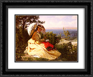 La Femme A L'ombrelle 24x20 Black or Gold Ornate Framed and Double Matted Art Print by Jules Breton