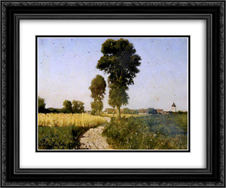 Landscape, Courrieres, France 24x20 Black or Gold Ornate Framed and Double Matted Art Print by Jules Breton