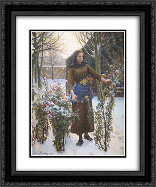 Last Flowers 20x24 Black or Gold Ornate Framed and Double Matted Art Print by Jules Breton