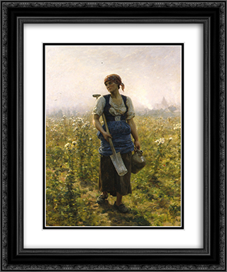 Le Matin 20x24 Black or Gold Ornate Framed and Double Matted Art Print by Jules Breton