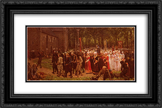 Le Pardon De Kergoat 24x16 Black or Gold Ornate Framed and Double Matted Art Print by Jules Breton