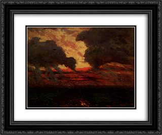 Les Corbeaux, Soir D'Orage 24x20 Black or Gold Ornate Framed and Double Matted Art Print by Jules Breton