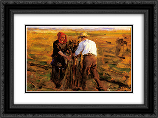 Mise En Tas Des Oeillettes 24x18 Black or Gold Ornate Framed and Double Matted Art Print by Jules Breton