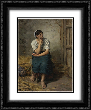 Paysanne au repos 20x24 Black or Gold Ornate Framed and Double Matted Art Print by Jules Breton