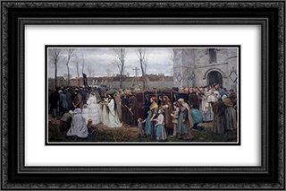 Plantation d'un Calvaire 24x16 Black or Gold Ornate Framed and Double Matted Art Print by Jules Breton