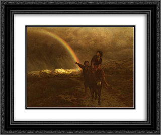 Rainbow 24x20 Black or Gold Ornate Framed and Double Matted Art Print by Jules Breton