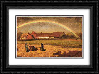 Rainbow in Courrieres 24x18 Black or Gold Ornate Framed and Double Matted Art Print by Jules Breton