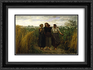Returning from the Fields 24x18 Black or Gold Ornate Framed and Double Matted Art Print by Jules Breton