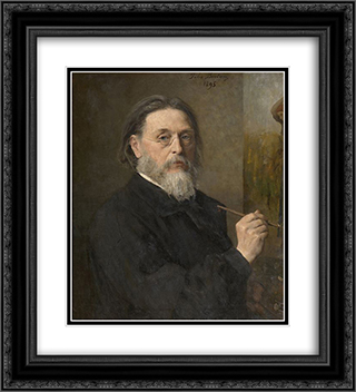Self Portrait 20x22 Black or Gold Ornate Framed and Double Matted Art Print by Jules Breton