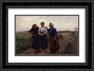 Setting out for the Fields 24x18 Black or Gold Ornate Framed and Double Matted Art Print by Jules Breton