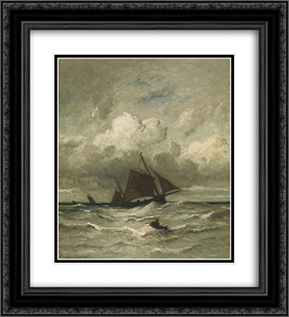 At Sea 20x22 Black or Gold Ornate Framed and Double Matted Art Print by Jules Dupre
