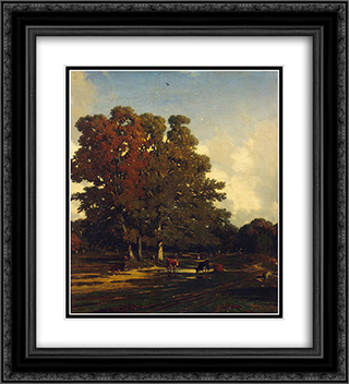 Autumn Landscape 20x22 Black or Gold Ornate Framed and Double Matted Art Print by Jules Dupre