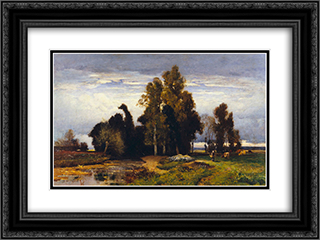Barbizon Landscape 24x18 Black or Gold Ornate Framed and Double Matted Art Print by Jules Dupre