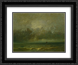 Calm before the storm 24x20 Black or Gold Ornate Framed and Double Matted Art Print by Jules Dupre