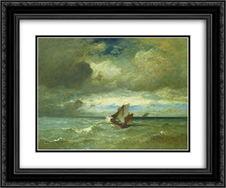 Choppy Sea 24x20 Black or Gold Ornate Framed and Double Matted Art Print by Jules Dupre