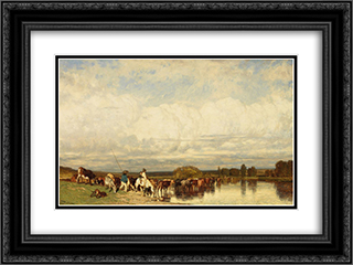 Cows crossing a ford 24x18 Black or Gold Ornate Framed and Double Matted Art Print by Jules Dupre