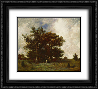 Fontainebleau Oaks 22x20 Black or Gold Ornate Framed and Double Matted Art Print by Jules Dupre