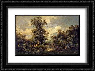 Forest Landscape 24x18 Black or Gold Ornate Framed and Double Matted Art Print by Jules Dupre