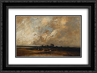 Landscape 24x18 Black or Gold Ornate Framed and Double Matted Art Print by Jules Dupre