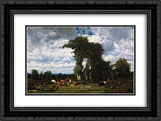 Landscape with Cattle at Limousin 24x18 Black or Gold Ornate Framed and Double Matted Art Print by Jules Dupre