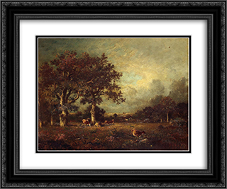 Landscape with Cows 24x20 Black or Gold Ornate Framed and Double Matted Art Print by Jules Dupre